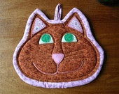 Happy Cat insulated casserole mat/hot pad - hand embroidered, hand appliqued quilt