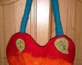 Handcrafted felted heart pixie bag