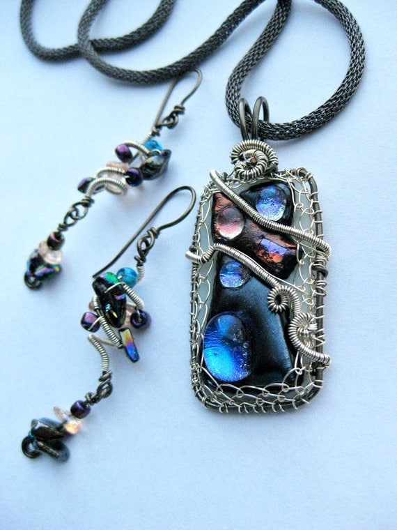 Dichroic Glass Pendant & Earrings Set Wire Wrapped Gun Metal Mesh Necklace 3 Moon Starry Night Iridescent Blue Peach Purple