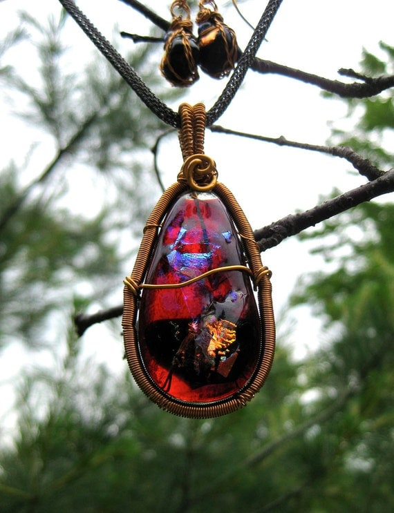 Wire Wrapped Bronze Dichroic Pendant and Earring Set, Blood Crystal, Blue, Copper, Violet  with Woven Gun Metal Chain Necklace
