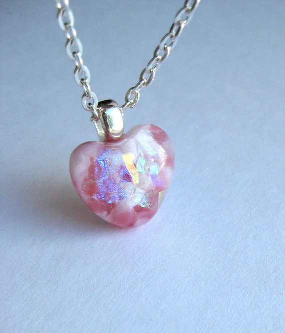 Heart Tiny Pink Dichroic Glass Pendant and Silver Plate Chain Necklace