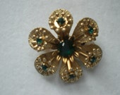 Vintage Emerald Green Flower Pin/ Brooch 1950s  to 1960s Rhinestone Gold Tone Pronged