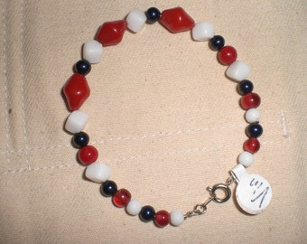Ooak Repurposed Recycled Upcycled  Red White and Blue Vintage Glass Bead Bracelet Americana Patriotic