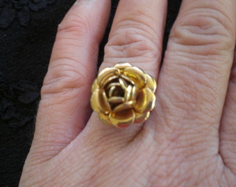 Vintage Gold Tone Adjustable Rose Ring 1960s to 1970s Retro Flower Simple