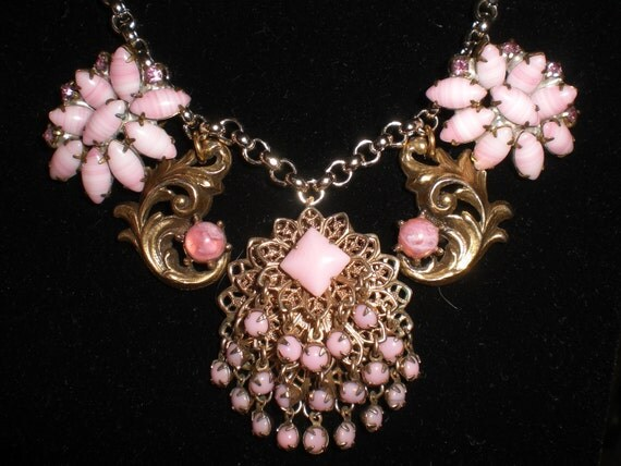 Handmade Ooak Upcycled Recycled Repurposed Reclaimed Gold Tone  Adjustable Pink Charm Necklace Glass Rhinestones Glass