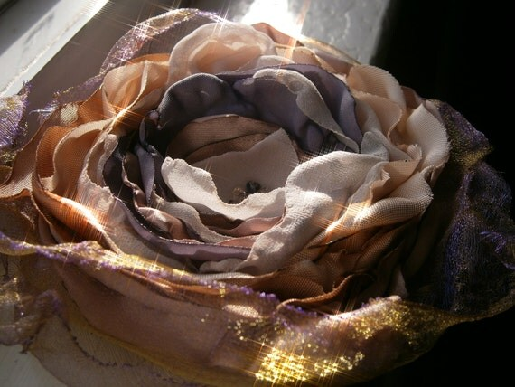 Beautiful cream, light gold, lavender and ivory fabric flower brooch with Swarovski