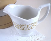 Vintage Gold and White Sterling Vitrified Pitcher Creamer
