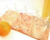 Vintage Restaurant Style Orange Juice Glasses, Set of 8