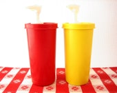 Vintage Tupperware Ketchup and Mustard Condiments Dispenser Pumps with Caps