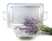 Vintage Aluminum Tray Lavender Purple Silver Wedding Gift