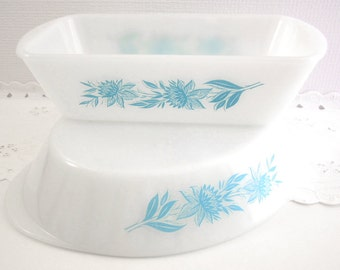 Vintage Jeannette Glass Glasbake J-522 Bread Dish and Matching J-2352 Divided Dish Casserole Ovenware Dishes Aqua Turquoise