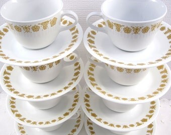 Vintage Corelle Livingware Butterfly Gold Set of 8 Regular Handle Cups and Saucers, 1970 Harvest