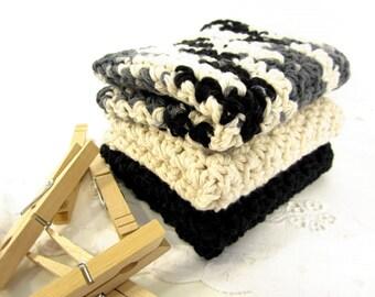 Handmade Crocheted Cotton Dishcloths, Set of Three 3, Black Cream Charcoal Grey