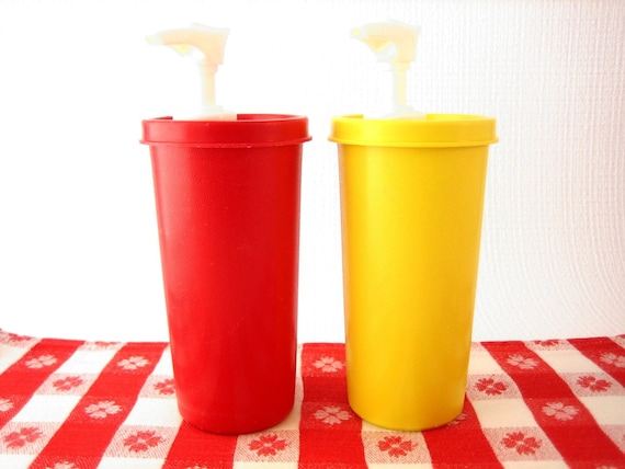 Vintage Tupperware Ketchup and Mustard Condiments Dispenser Pumps