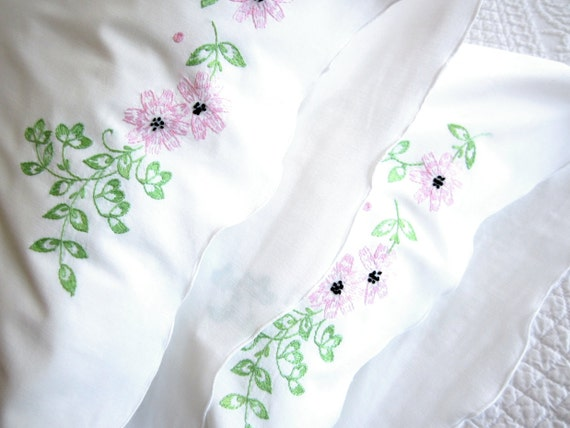 Pair of Vintage Embroidered Standard Pillowcases, Set of Two Pink and Celedon Green