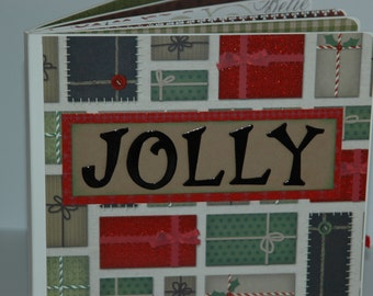 Christmas premade pages chipboard book- 8 x 8 JOLLY scrapbook album