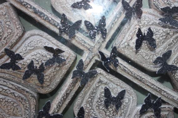 Black Glitter Butterfly Confetti/Scrapbooking Embellishments