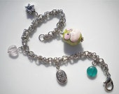Green Owl Silver Charm Bracelet