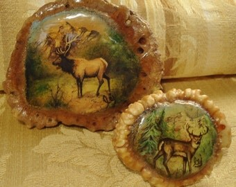 His 'n Hers: Elk Horn & Deer Horn - Vintage Pair of Hand Painted Wearable Art Buckles - Free U.S. Shipping