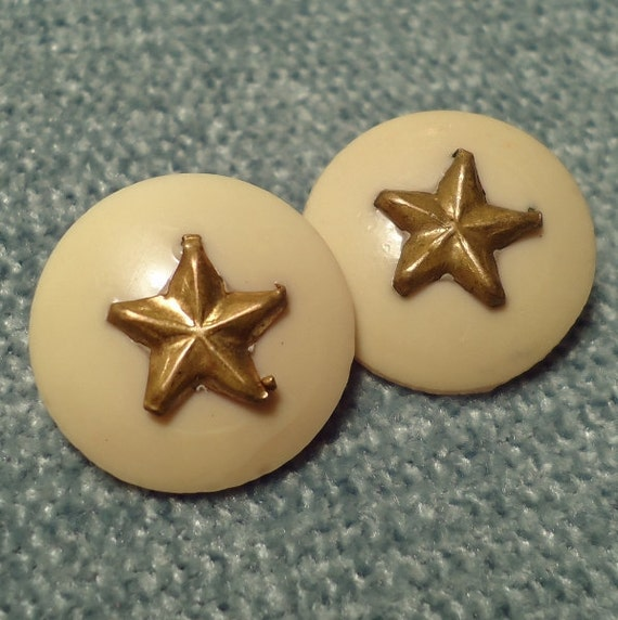 """Antique Celluloid Buttons with Brass Star Escutcheons - 11/16"""" (18mm) Vintage Buttons - Set of 2"""