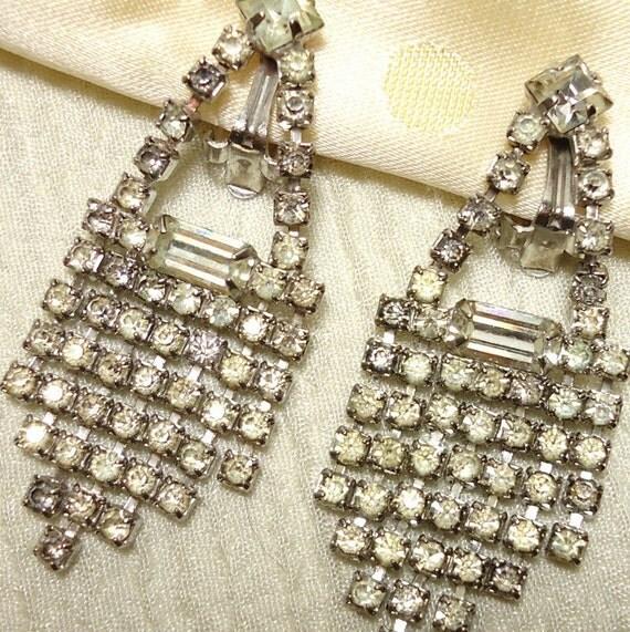 Glam Galore: Judy Lee Rhinestone Chandelier Earrings