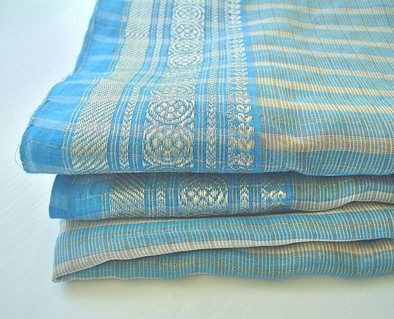 Silk Sari Fabric Sea Blue Stripes with Silver Metal Thread Borders -- three plus yards