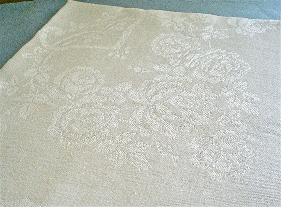 Damask Linen Napkins with Swags of Roses and Mill Mark, Set of Ten