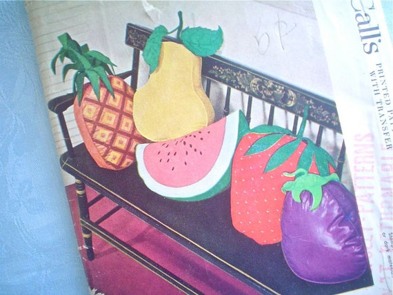 Giant Fruit Pillows Pattern McCall 1751 Super 1950s Retro Kitsch