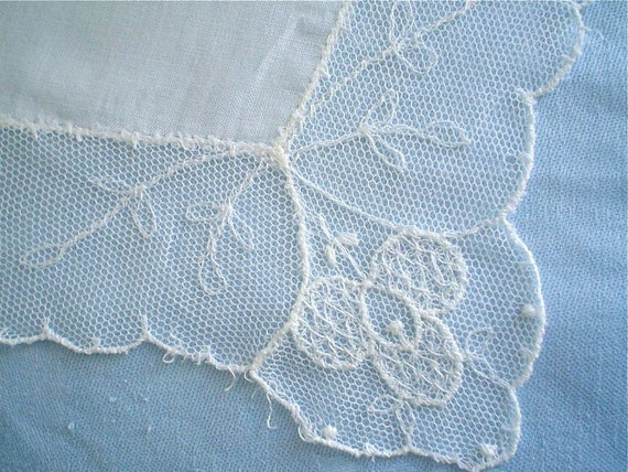 Hankie Lace-Edged with Delicate Scallops Vintage Handkerchief