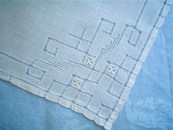 Linen Hankie with Fabulous Fretwork Hemstitched Vintage Handkerchief