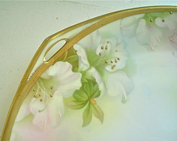 Antique Cake Plate Prussia Hand Painted Pink Azaleas Floral Platter
