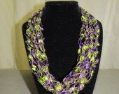 Ribbon Ladder Yarn Crochet Necklace in Purple and Green