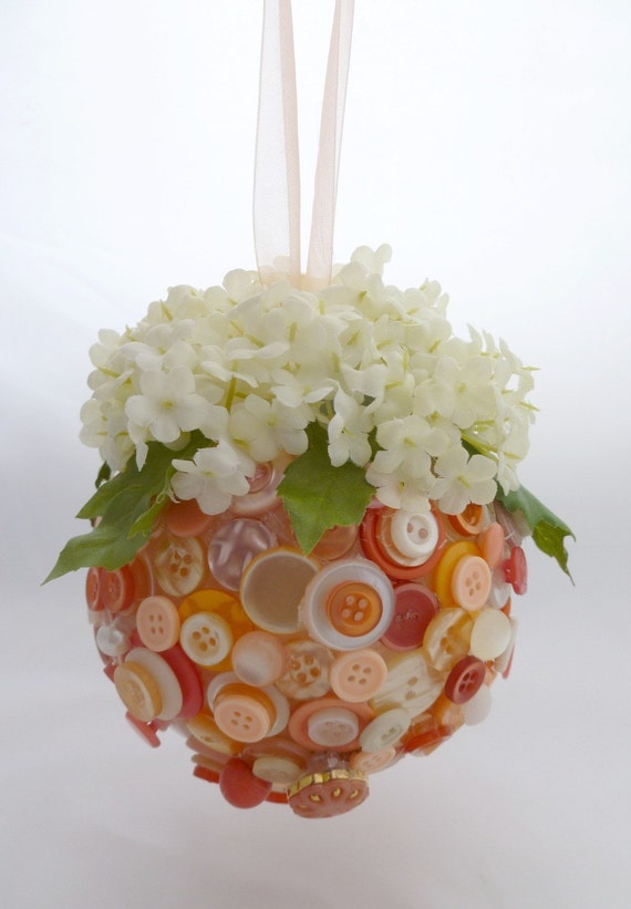 Peachy-Keen Button Pomander with Hydrangea  Or YOUR CUSTOM COLOURS