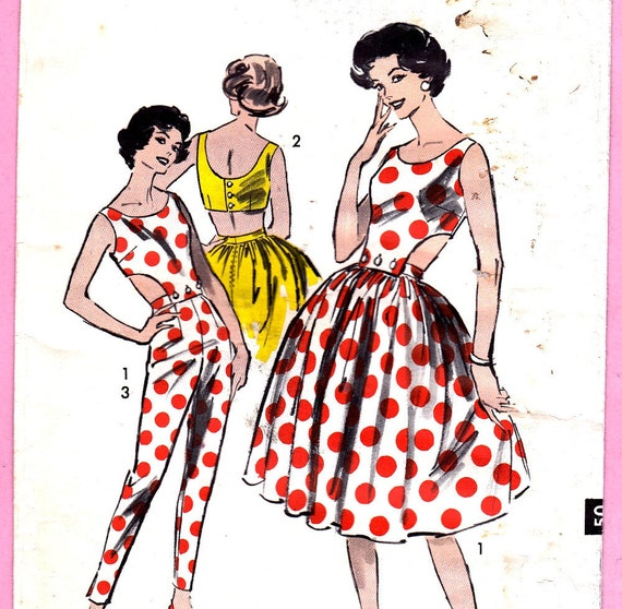 Advance 9044 Vintage 50s Cigarette Pants Skirt Detachable Halter  Rockabilly Sz 11 Junior Sewing Pattern