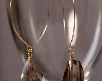 Large smokey quartz drop gold earrings