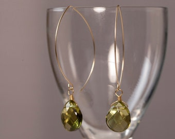 Olive green quartz crystal earrings on gold wire