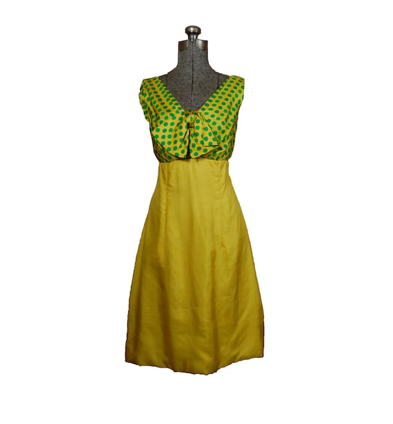 Vintage 1960s 60s Yellow Green Polka Dot Silk Raw Silk Cocktail Mad Men Party Dress Medium Large