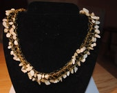 Hand Crocheted Aragonite and Gold Plate Necklace