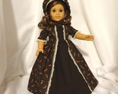 Brown, beige and coral print, long dress for 18 inch dolls, with solid brown inset and beige lace trim.