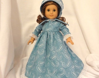 Turquoise paisley with white lace trim, long dress for 18 inch dolls.