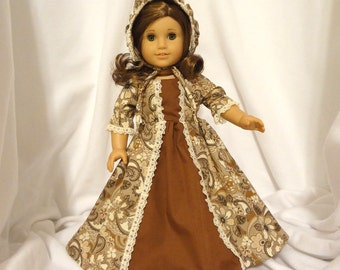 Brown and beige print, long dress for 18 inch dolls, with solid brown inset and beige lace trim.