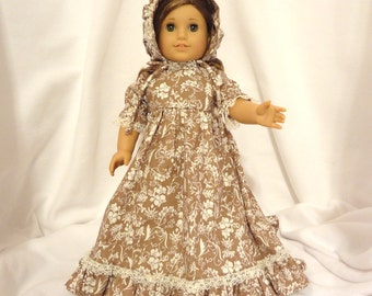 Cream and chocolate, long dress for 18 inch dolls, with beige lace trim.