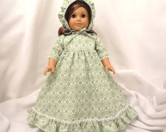 Green on white print, long dress for 18 inch dolls, with white lace trim.