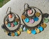 Vintage Earrings Multi Colored Shells Double Hoop Boho Dangle Pierced