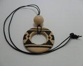 Vintage Necklace Wood Round Pendant on Black Cord Art Deco Retro 1980s Boho