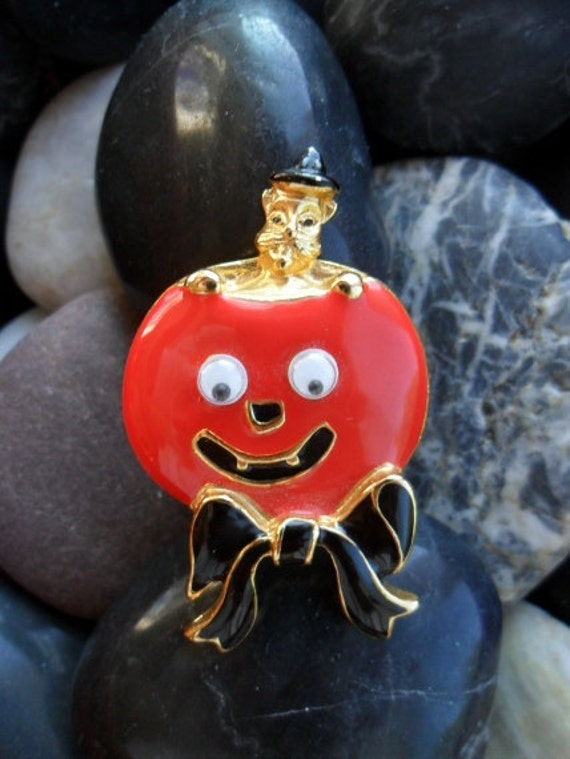Vintage Brooch / Pin Signed SFJ Pumpkin Enamel with Jiggly Eyes-Treasury Item