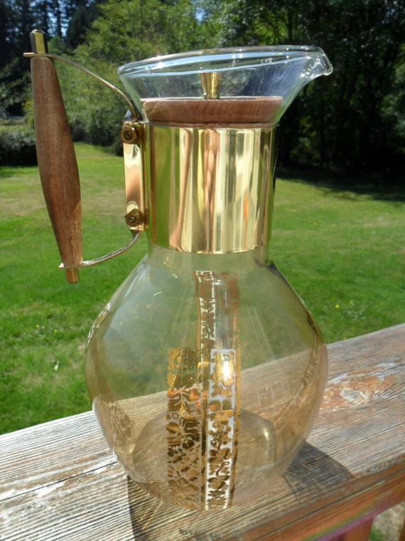 Vintage Mid Century Large Glass Coffee Carafe with Cork / Wood Lid Signed Georges Briard