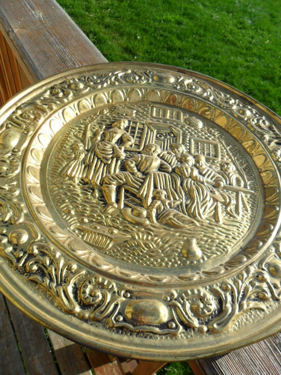 Vintage Brass Plate Wall Hanging Made in England Large Embossed Plaque 1970s Retro Mid Century