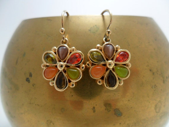Vintage Earrings GLASS  Rhinestones Multi Colored Flowers Pierced Dangle 1980s