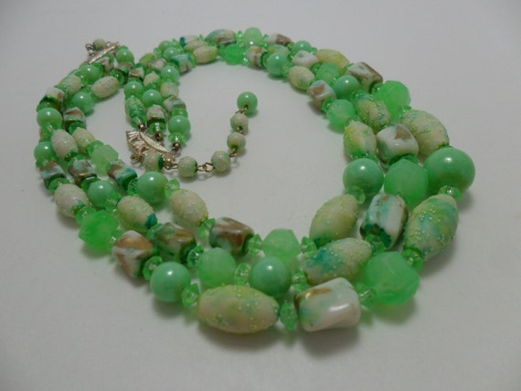 Vintage Necklace Bib Waterfall 3 Tiered Signed Hong Kong Graduated Various Beads of Marbled and Frosted Lime Green Shades Mid Century 1960s